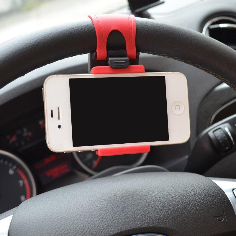 Car Steering Wheel Mount Holder Rubber Car Mount Bracket For IPhone 6 plus 4 5 5S