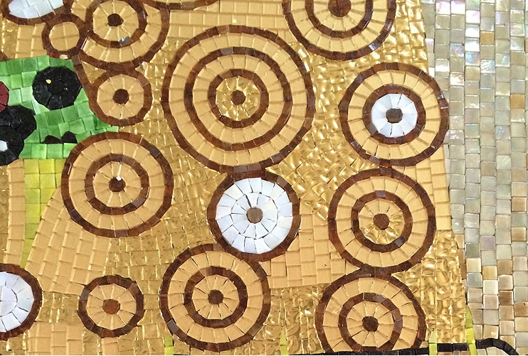 the kiss of Gustav Klimt ,Hand Made Glass Mosaic Art Wall Mural ...