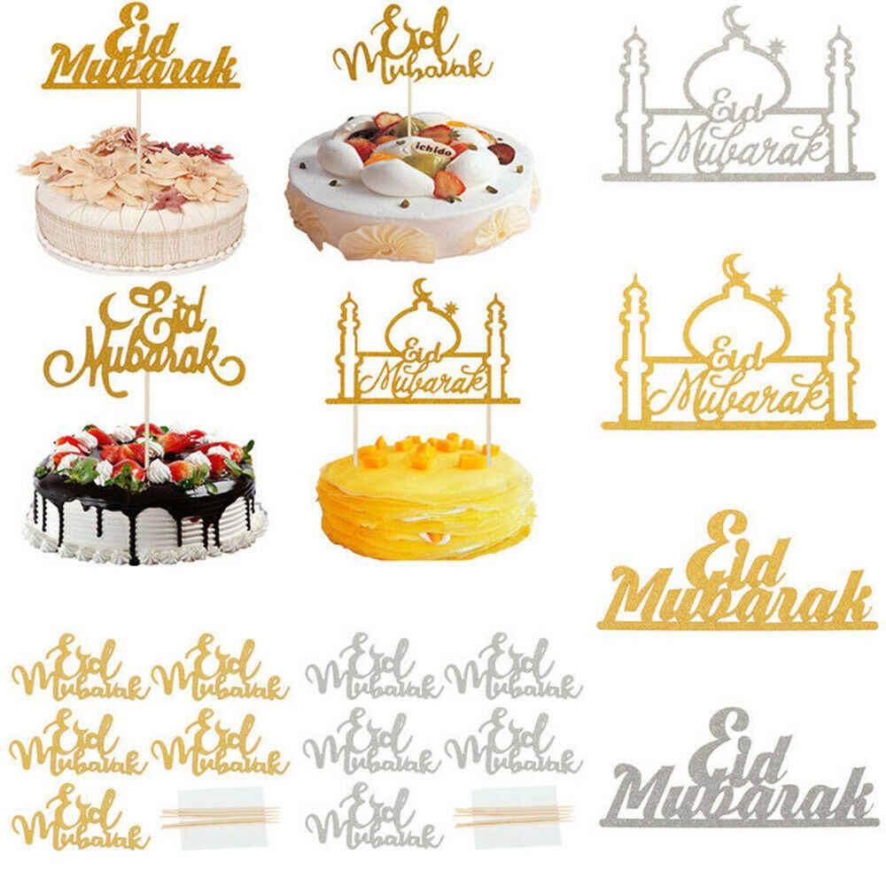 Happy Ramadan Eid Mubarak Cake Topper Insert Islam islamic Glitter Hajj Decor sr