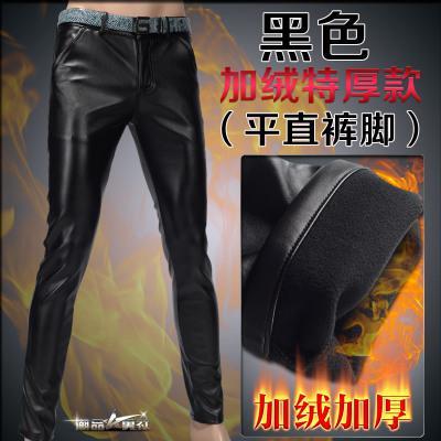 Мотоцикл Клуб Плотно Искусственной Кожаные Штаны Мужчины Горячая Мужская Мода брюки Для Мотоциклов Танцевальные Брюки Для Мужчин Hip Hop Мужчины Брюки - Цвет: black smooth velvet