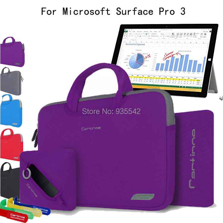 For Microsoft Surface Pro 4/ 3 12-Inch Tablet Laptop 4 in 1 Portable Cotton Fabric Handle Carrying Sleeve Case Computer Bag