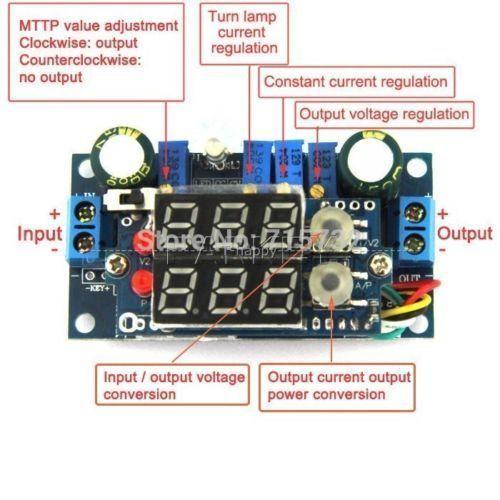 Painéis solares MPPT 5A DC Step-down Módulo de Tensão Constante Corrente constante + LED