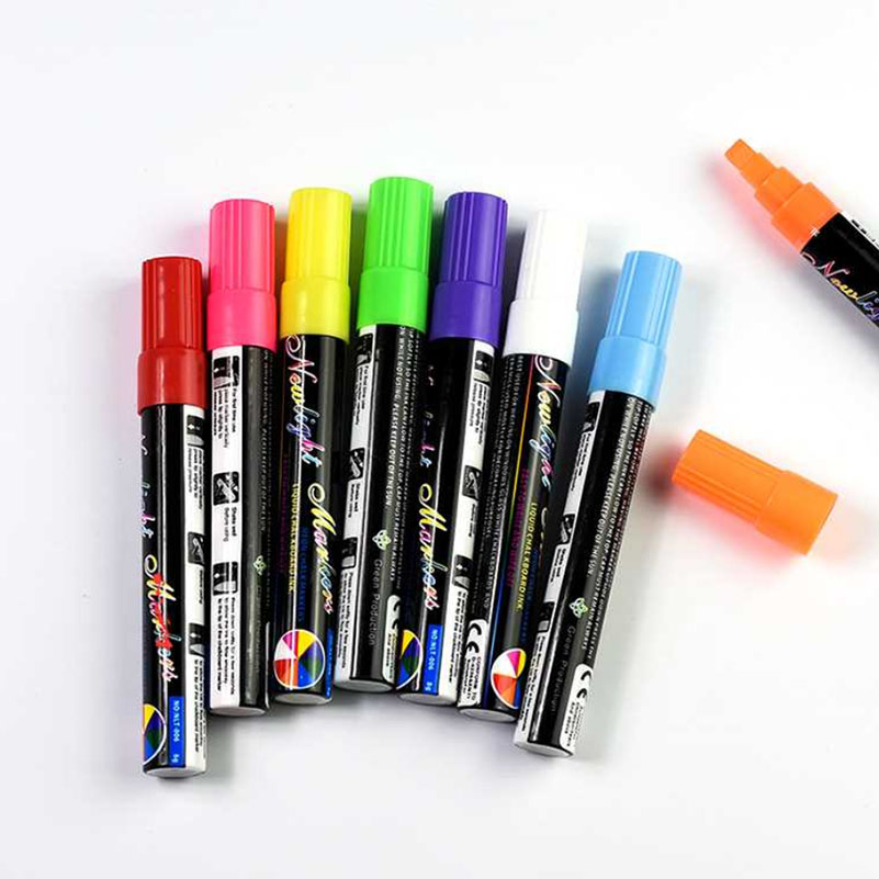 8 Colors Highligter Liquid Chalk Marker Pens Fluorescent Pen for Led Window Glassboard Writting cute mini honey bee style fluorescent marker pens w chain 24 pack