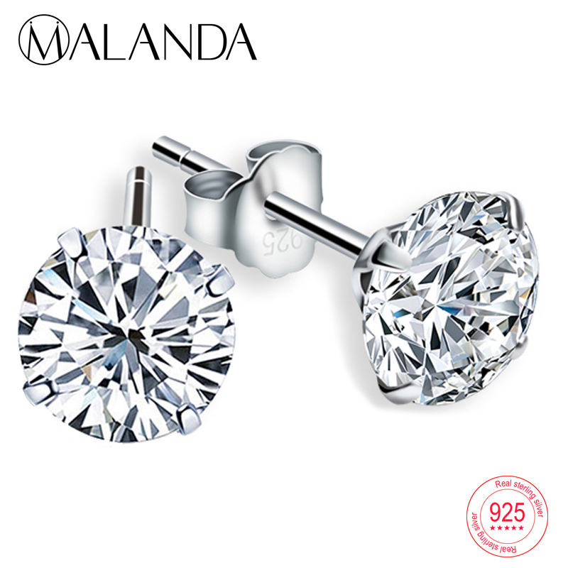 16 colours available Sterling silver 3-8mm Crystal CZ stud earrings Gift box