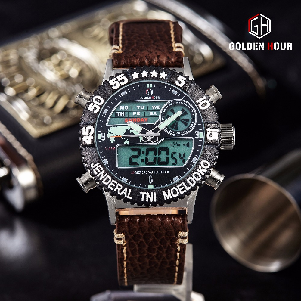 все цены на Watch Men Top Brand Luxury Big Dial Waterproof Analog Digital Watches Leather Military Male Clock Relogio Masculino онлайн