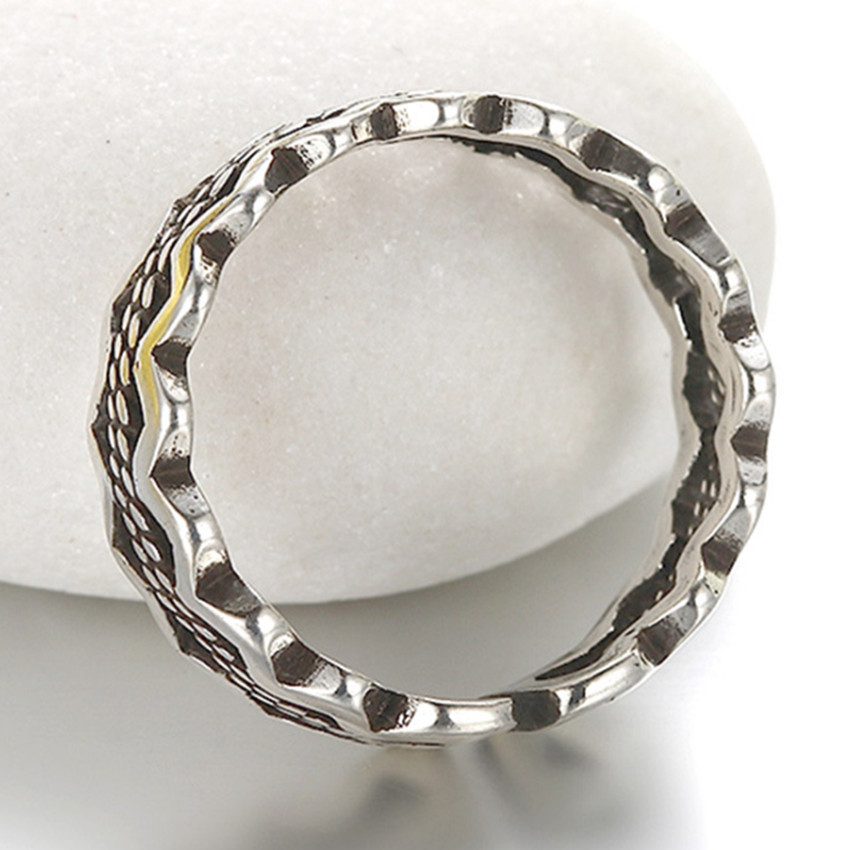 Simple retro fashion ring opening geometric Thai silver ring men and women female jewelry popular national wind