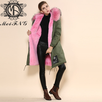 Оптовая продажа с фабрики женская US размер искусственного меха Пальто Куртка Длинные розовые мех енота капот парка плюс размер зимние женс