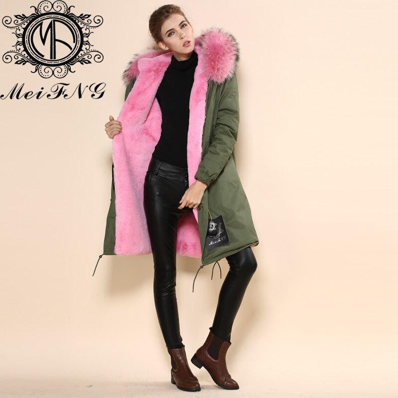 82fc560cc1d Factory Wholesale womens us size faux fur coat jacket long pink raccoon fur  hood parka plus size winter women s coats