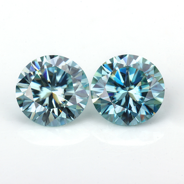 Loose moissanites stone 6.5mm round 8 hearts&8 arrows cut 1ct Moissanites gemstones synthetik diamonds stone Blue color-in Loose Diamonds & Gemstones from Jewelry & Accessories    1