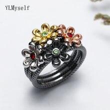 Женское кольцо с цветком модное разноцветное черное высокого