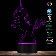 Unicorn LED Table Lamp Unicorn 3D Illusion Lights Girl Room Unicorn Bedside Night Light Multi Colors Acrylic Sign Lighting Gift