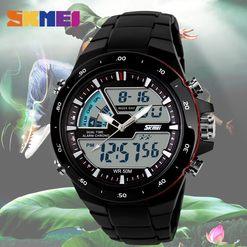 SKMEI Men Sports Watches Fashion Casual Men's Watch Digital Analog Alarm 30 Waterproof Military Multifunctional Man Wristwatches цена 2017