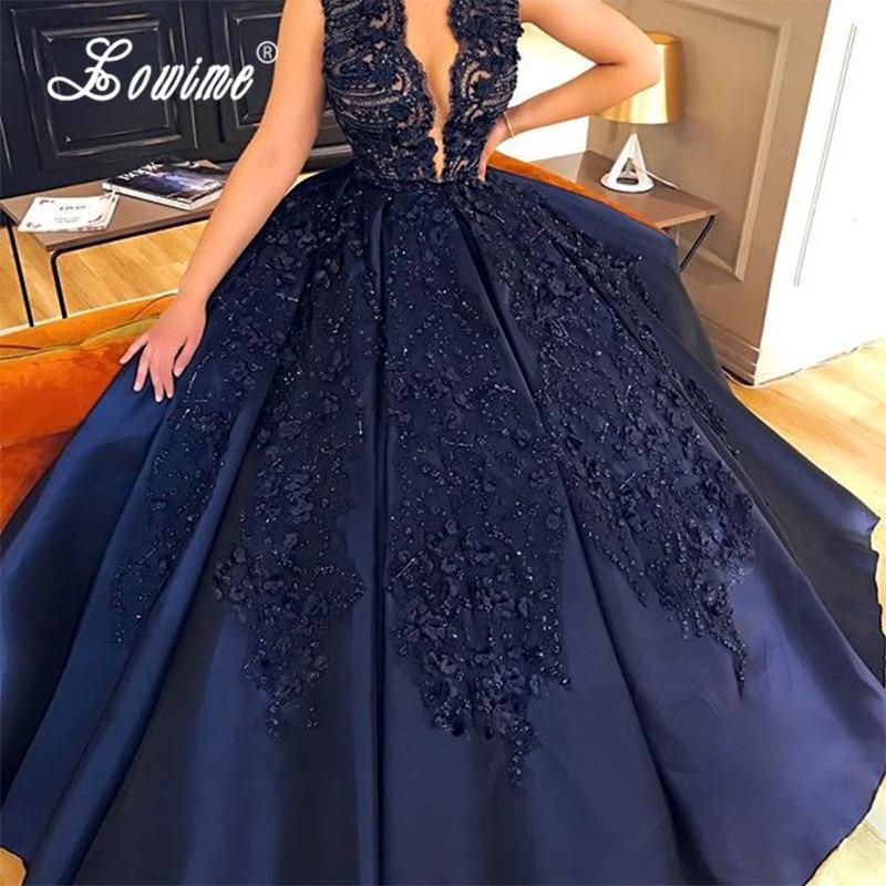 Navy Blue Evening Dresses Lace V-Neck Handwork Beaded Formal Dress 2017 Ball Gown Satin Long Prom Dress Arabic Gown Abendkleider