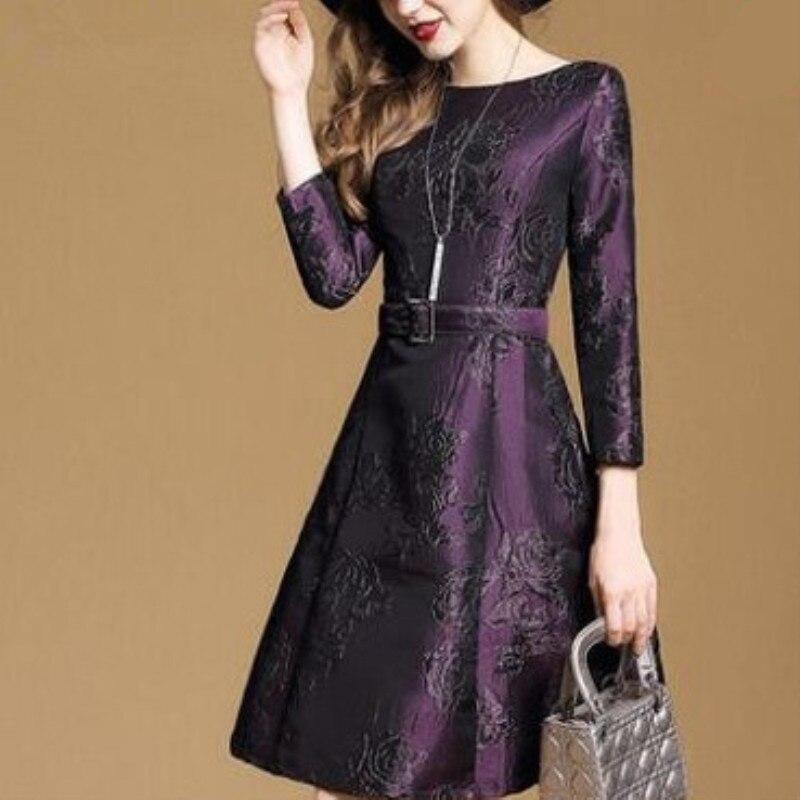 Elegant Purple Dresses Women High Quality Three Quarter Sleeve Autumn Vestidos 2019 Fashion Jacquard Floral Dress Buckle Belt