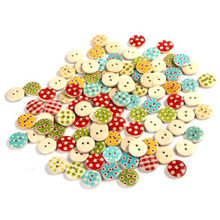 100PCS NEW Mixed color 15mm polka dot rustic plaid handmade diy accessories small wooden buttons Sewing Supplies