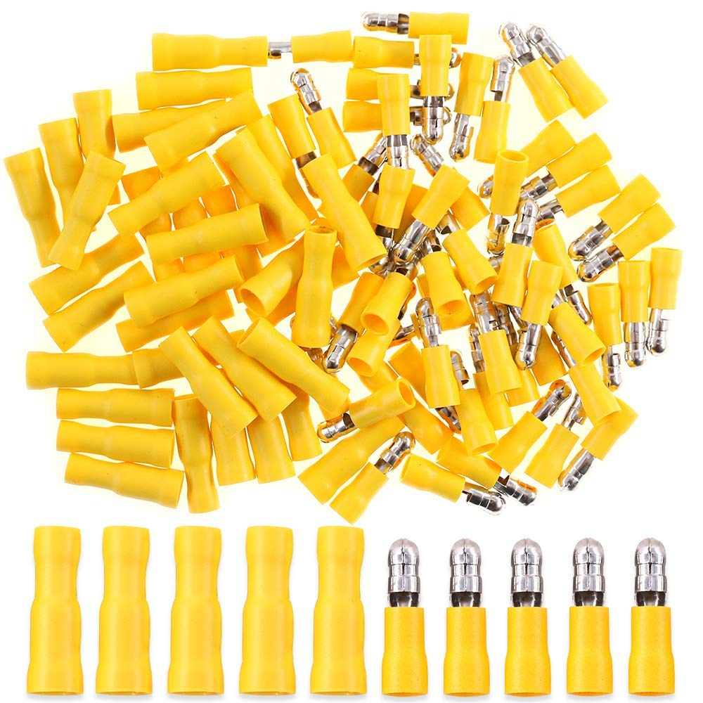 Able 100x Male Female Yellow Fully Insulated Bullet Butt Connector Crimp Wire Terminals 12-10awg Electrical Equipments & Supplies Terminals