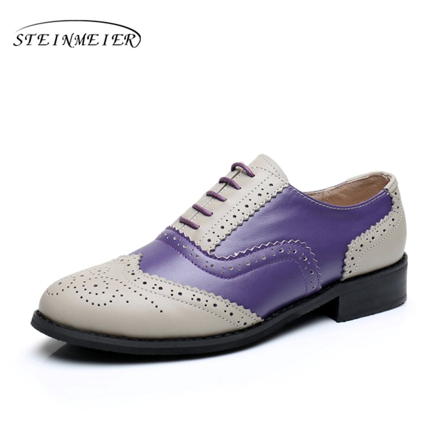 Genuine leather big woman US size 10 designer vintage flats shoes round toe handmade grey purple oxford shoes for women with fur women flats leather oxford shoes woman flat 9 5 vintage shoes brown point toe handmade 2017 oxfords shoes for women with fur