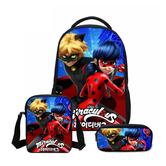 485719d83 VEEVANV Brand Backpacks Pencil 3 PCS/SET Fashion Anime Miraculous Ladybug  Prints Mochila Girls Lovely