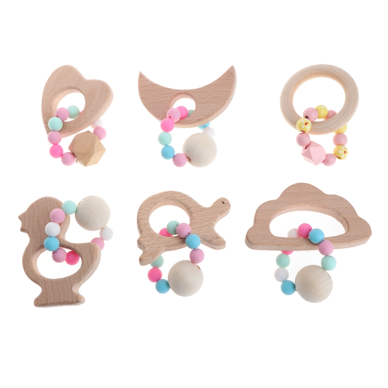 Baby Nursing Bracelets Wooden Teether Newborns Silicone Chew Beads Teething Wood Rattles Gift Toys