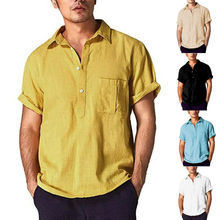 Mens Shirts Casual Slim Fit Linen Short Sleeve Summer Solid Loose Soft Tops Blouse Dress