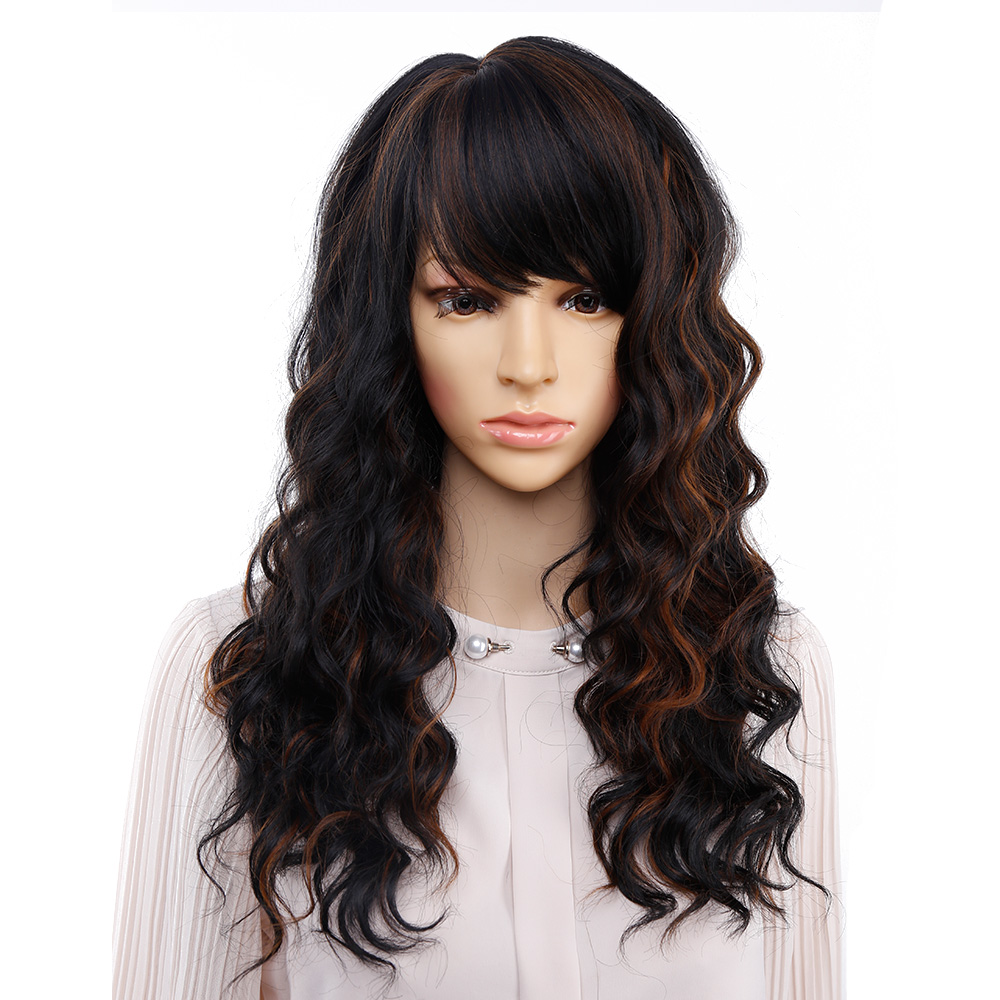 Amir Long Natural Wave Wigs for Women Black and Brown Ombre Wig With Bangs  Bob Synthetic Hair wigs Peruca Cosplay and Party