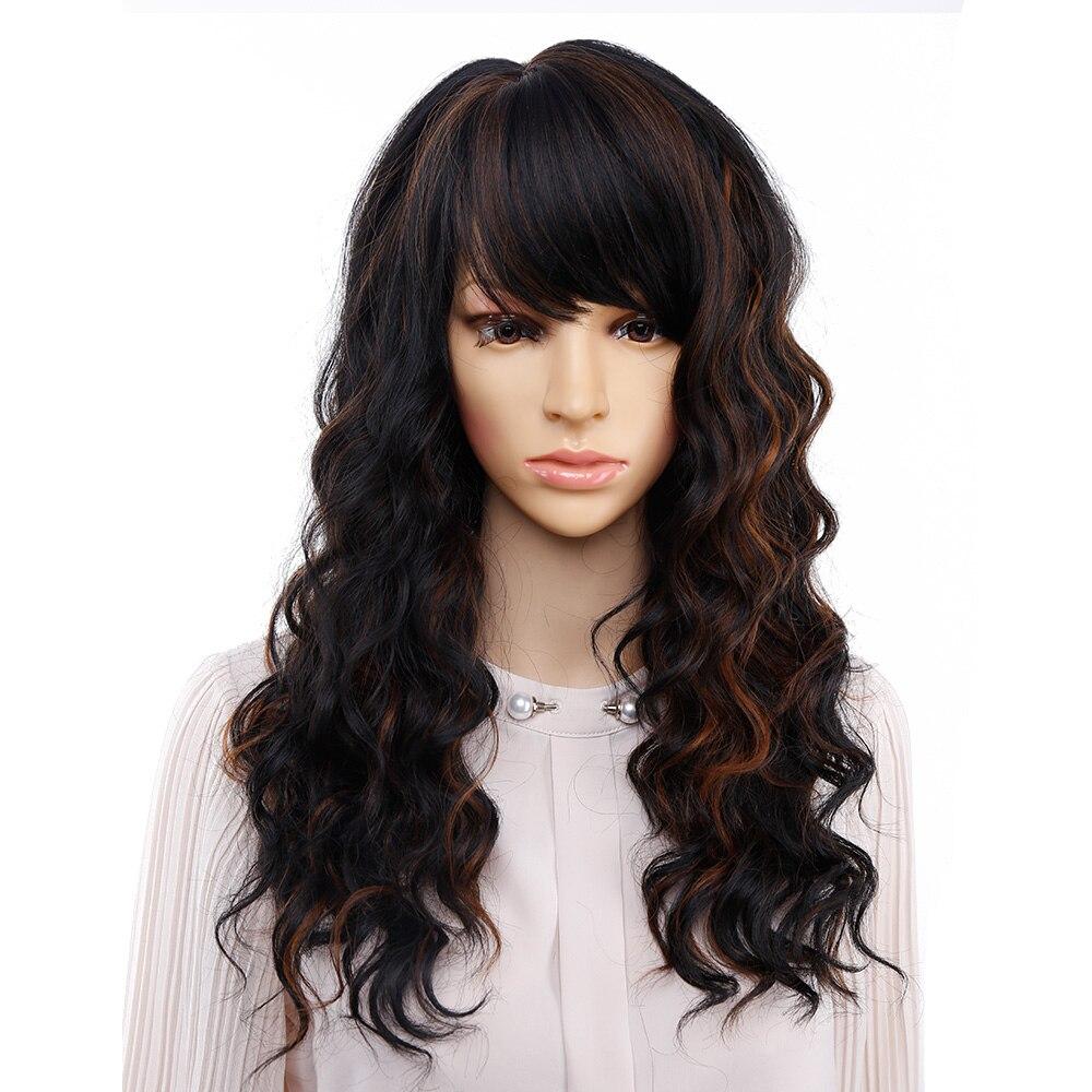 Ombre peruca com franja bob perucas de cabelo sintético peruca cosplay e festa amir onda natural longa perucas para mulheres preto e marrom