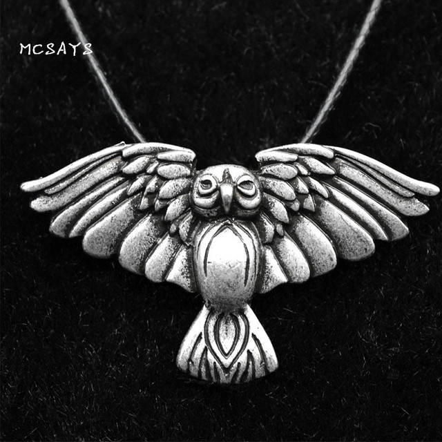 MCSAYS Norse Viking Jewelry Flying Eagle Pendant Sliver Color Rope