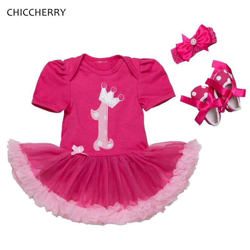 Fashion 1 Year Birthday Dress Headbands Crib Shoes Birthday Tutu Sets Baby Girl Clothes Infant Clothing Conjunto Infantil Menina