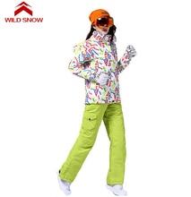 Wild Snow Women Warm Winter Waterproof Skiing Suit Sets Snowboard Snow Jackets Mountain Ski Suit Women Skiing Clothing Set
