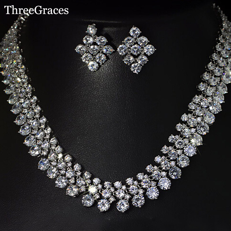 ThreeGraces Luxury Women Cubic Zirconia Jewelry Bridal Big Statement Necklace And Earrings Set For Wedding JS036 statement alloy crochet earrings and necklace