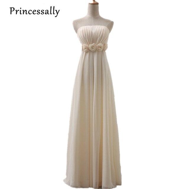 Bridesmaid Dresses Champagne Long Strapless Chiffon Empire Flower ...