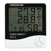 HTC-2 LCD Digital Thermometer Hygrometer Weather Station Indoor Outdoor Probe Temperature Humidity Tester Meter Clock Alarm