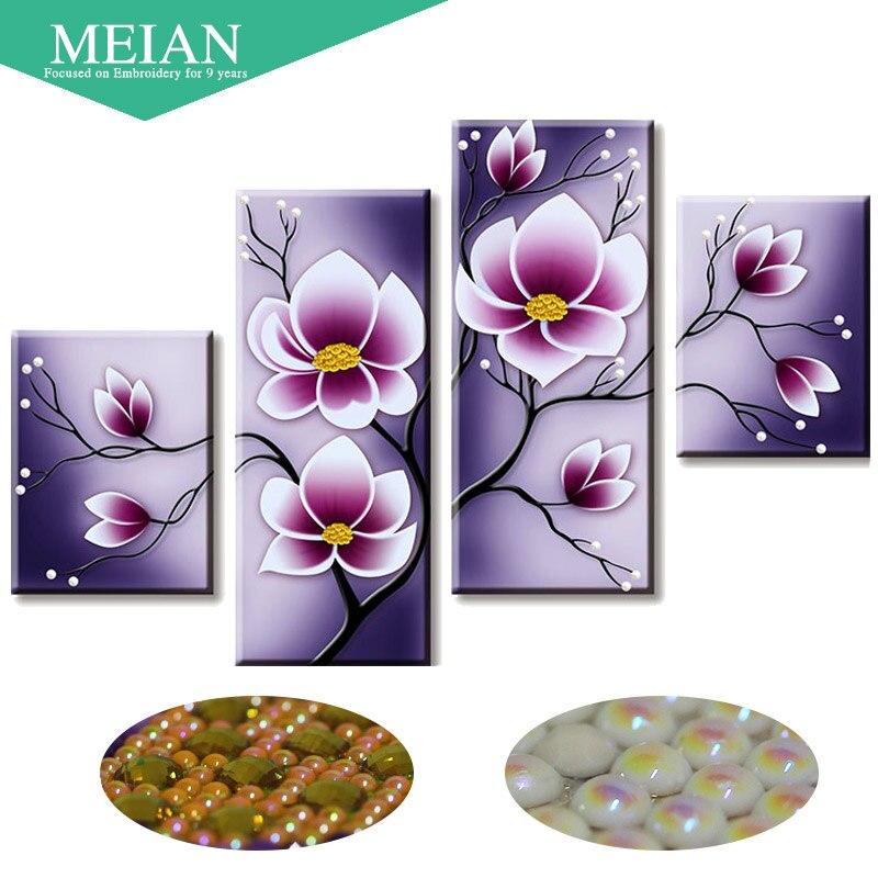 Meian Special Shaped Diamond Embroidery Flower Tulip 5D Diamond Painting Cross Stitch 3D Diamond Mosaic Decoration