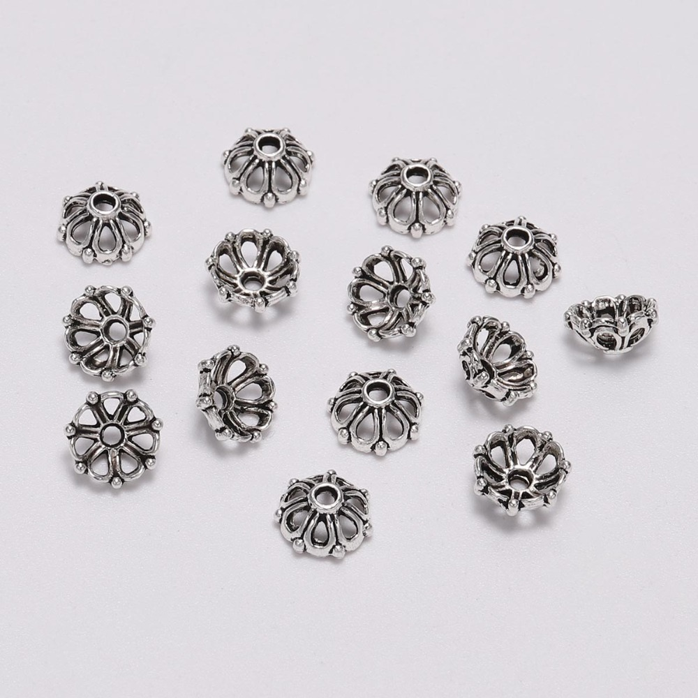 100pcs/Lot 8mm 7 Petals Bead Caps Antique Silver Hollow Flower Loose Sparer Apart End Bead Caps For DIY Jewelry Making Findings