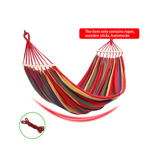 Image 2 - Outdoor Furniture Canvas Fabric Double Wood Spreader Bar Stick Hammock Tent Outdoor Camping Swing Hanging Two person Hammock Bed