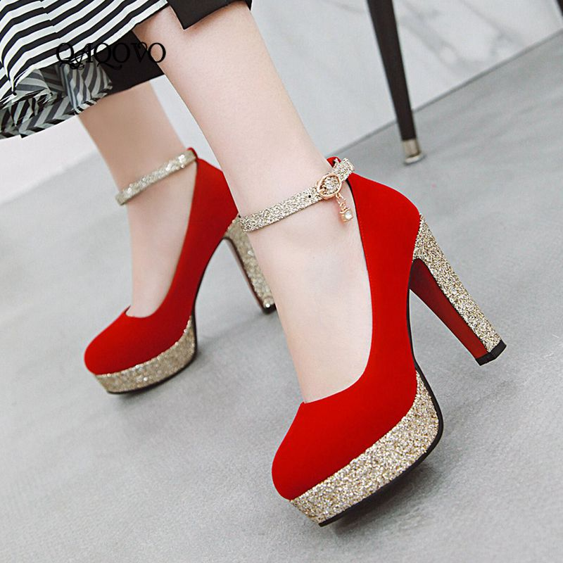 Spring Auutmn Women Shoes Sequined Platform Mary Jane Pumps Square High Heels Buckle Party Shoes Blue Black Red