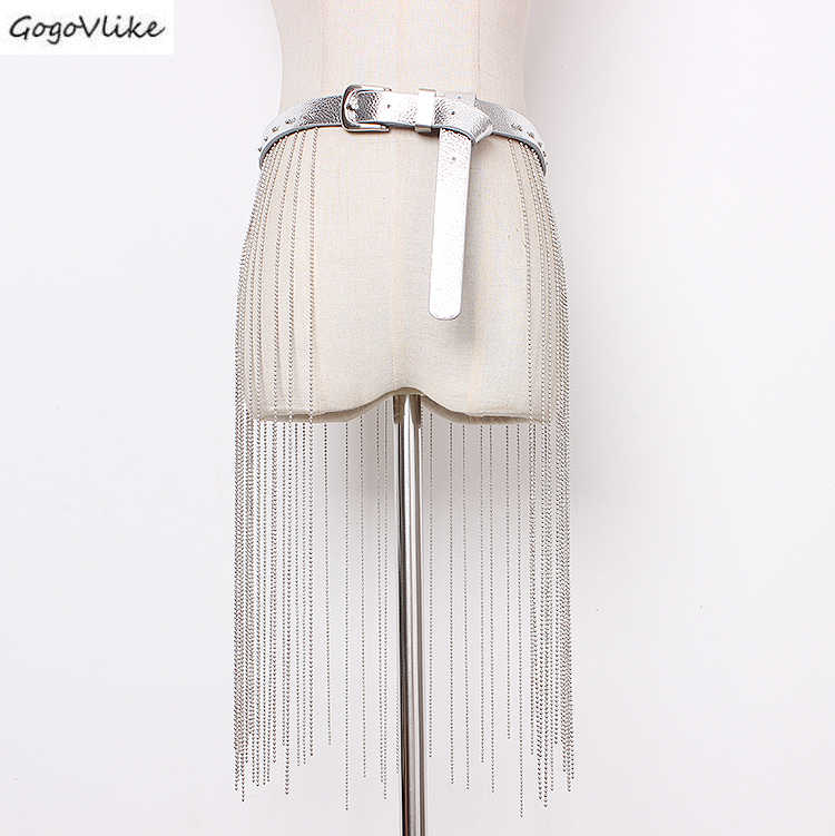 Искусственная кожа Cummerbund длинные цепи с кисточками 2019 тонкая серебряная женская талия рубашка с поясом платье аксессуары широкие пояса SA080S50