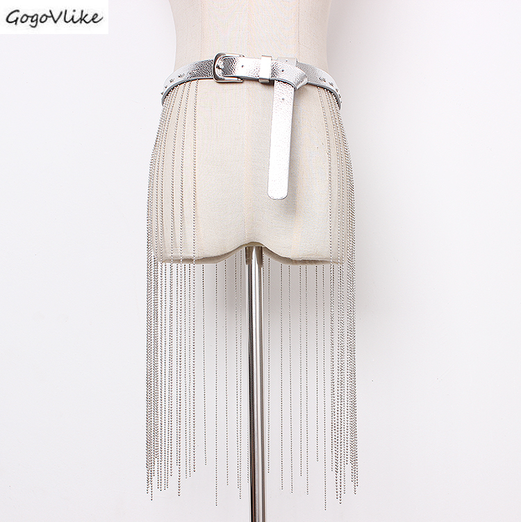 PU Leather Cummerbund Long Tassel Chains 2019 Slim Silver Women Waist Belt  Shirt Dress Accessories Wide Waist Belts SA080S50