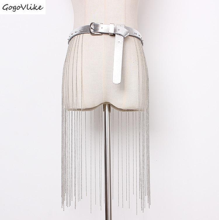 PU Leather Cummerbund Long Tassel Chains 2019 Slim Silver Women Waist Belt  Shirt Dress Accessories Wide Waist Belts SA080S50
