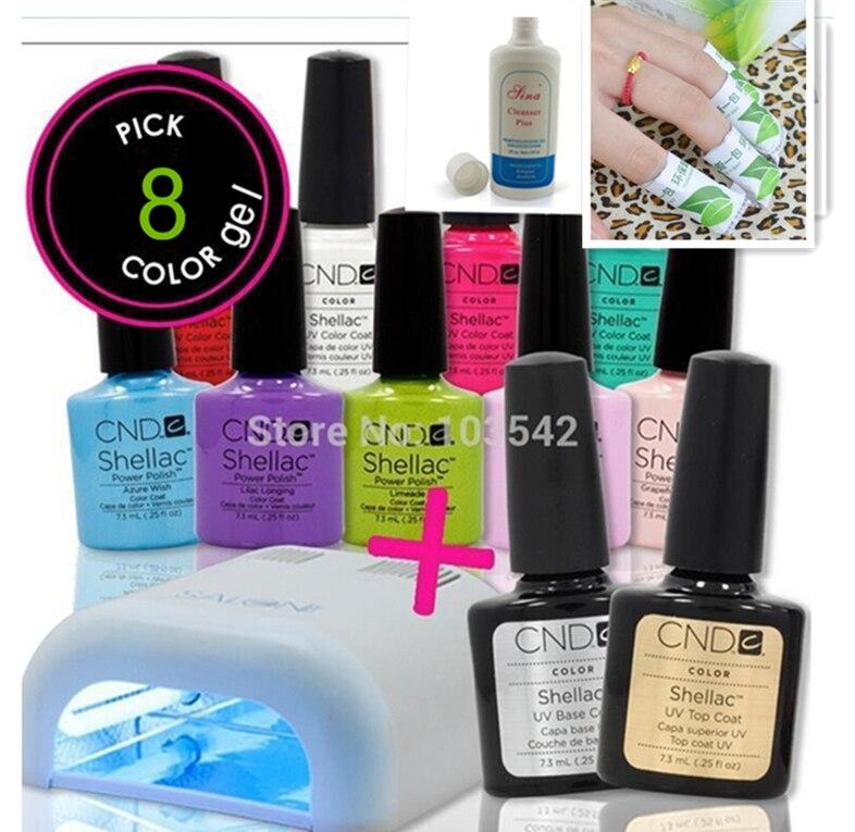 CND gomme laque 13 pièce/ensemble imbiber UV LED base de vernis à ongles + top + Gel 8 couleurs + lampe + nettoyant + dissolvant