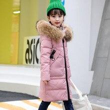 Niñas invierno Chaquetas niños abrigo de invierno sudaderas con capucha  grandes de piel 80% de pato blanco abajo chaquetas para . 28da1b1f87a07