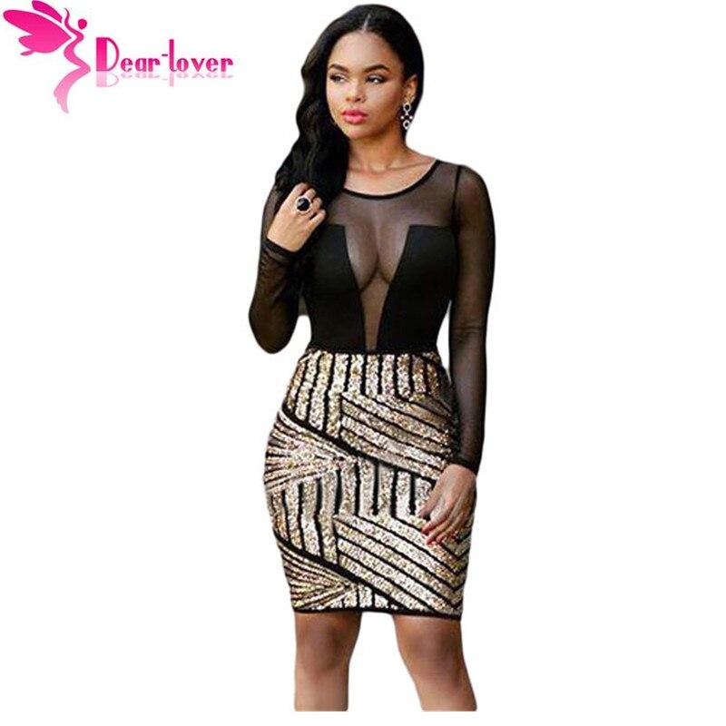 Dear Lover Bodycon Dresses Autumn Women 2016 Sexy Long Sleeves Mesh Shadow Sequin Bottom Dress Party Night Vestido Curto LC22804