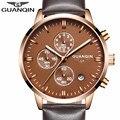 2017 guanqin moda chronograph esporte militar relógio de quartzo de couro relógio de pulso dos homens relógios top marca de luxo relogio masculino