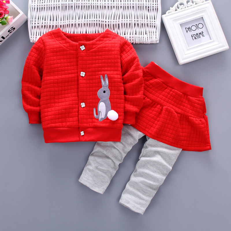 Hot sale spring Fashion cartoon Rabbit baby girl clothes long-sleeved coat +Pants suit Tracksuit baby girls clothes set