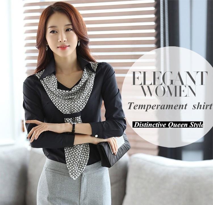 HTB1BLucJpXXXXaLXVXXq6xXFXXXn - Women's shirt slim formal scarf collar long-sleeve blouses