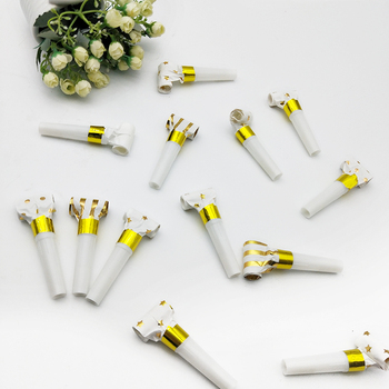 10Pcs Funny Toy Baby Blowing Dragon Blowout  Gold Silver Whistles Kids Childrens Blowout Party Birthday Supplies Toys Gift