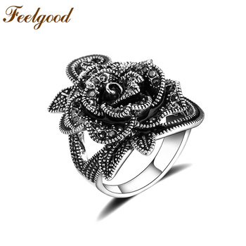 Beautiful Black Rose Sliver Ring For Women Best For Party And Wedding