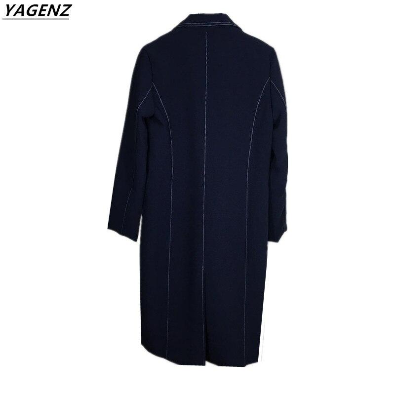 vent Nouveau Haute Double Vêtements Coupe Printemps 2017 Dark Femmes Qualité De Boutonnage Couleur longueur Automne Solide Moyen Blue À Manteau Femelle Yagenz q5A7tw7