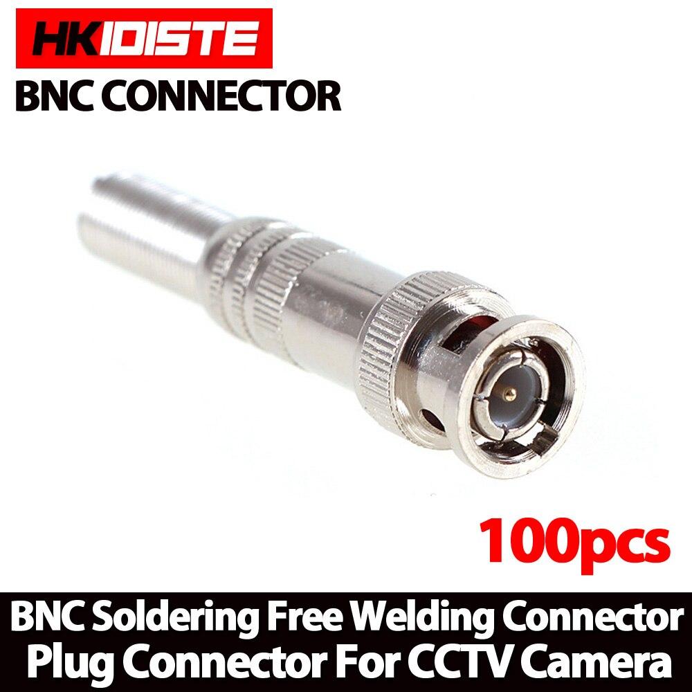 imágenes para 100 unids/lote Conector Macho BNC para RG-59 Cable Coaxical, latón Final, Crimp, Cable Atornillado, cctv cámara bnc