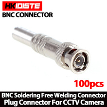 100pcs/lot BNC Male Connector for RG-59 Coaxical Cable, Brass End, Crimp, Cable Screwing, CCTV Camera BNC connector